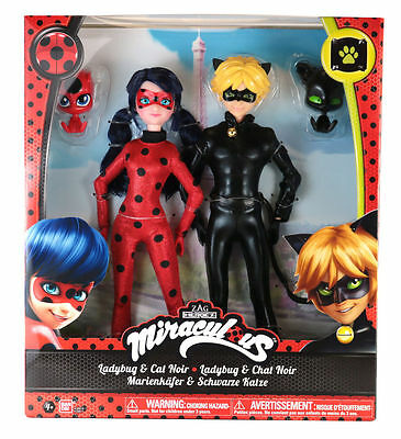 Miraculous LADYBUG & CAT NOIR 2 Pack Collector Giftset with Kwamis TIKKI & PLAGG
