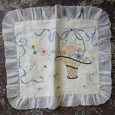 Antique 1920s Embroidered Sheer Organdy & Satin Pillow Cover Case Flower Basket