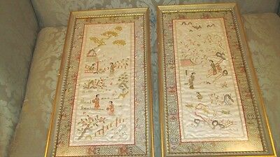 "(2) Vintage Asian Embroidery Silk Fabric Prints 13"" x 25"" Framed Art Pictures"