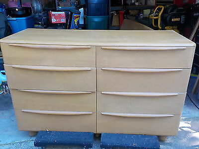 Heywood Wakefield Wheat Mid Century Full Size Bed Double Dresser w Mirror MCM