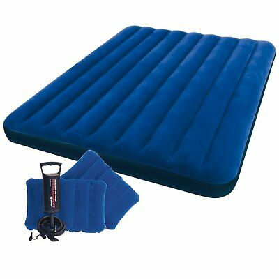 NEW Intex Queen Size Downy Air Bed with Inflatable Pillows & Double Quick Pump