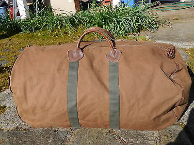 Vintage LL Bean Leather & Canvas Travel Hunting Duffle Luggage Gym Carry On Bag