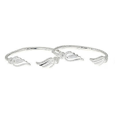 Solid .925 Sterling Silver West Indian Bangles with Fancy Pointed Ends PAIR