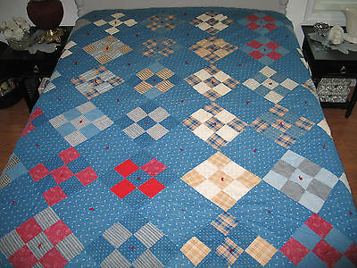 Antique c1900s Handmade Quilt NINE PATCH ~ Red~White-Tan- Blue Shirting