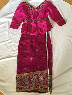 Lao Laos Synthetic Silk Sinh  Outfit Hot Pink