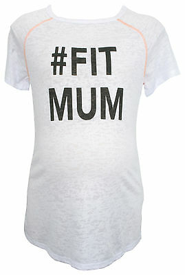 Ex Store Maternity Fit Mum Sporty T-Shirt White