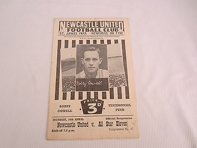 1955-56 BOBBY COWELL TESTIMONOAL FUND NEWCASTLE UNITED v ALL STAR ELEVEN
