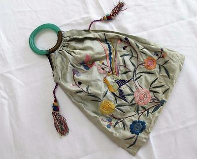 Vintage 1930's Chinese Embroidered Silk & Jade Glass Handled Bag Purse