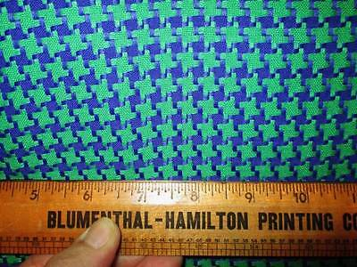 Vintage Polyester Houndstooth Fabric Green Purple NO STRETCH 50x72