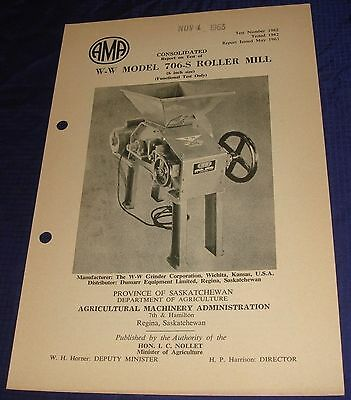 BR829 Vtg 1962 W-W Model 706-S Roller Mill Consolidated Test Report