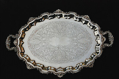 """Huge Ornate Antique  Silver Plate Oval Serving Tray 28""""l"""