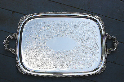 """Huge Antique  Silver Plate Serving Tray 27""""l"""