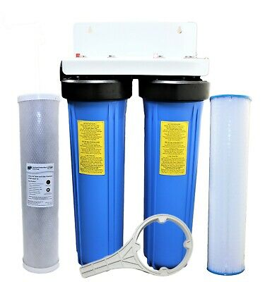 20x4.5 Big Blue Whole House Housing Tank Water Filter 1 Brass Port Include Wrench Water Filter Parts