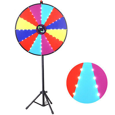 """30"""" LED Light Prize Wheel 12 Slots Floor Tripod Stand Dry Erase Game Trade Show"""