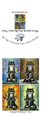 Cat Greeting Card Meditations Art by Irina Garmashova