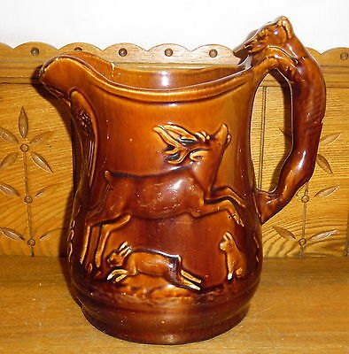"""CRACKED Antique Brown Pottery Pitcher - Eagles Deer Wolf Animals - AS IS 10 1/4"""""""