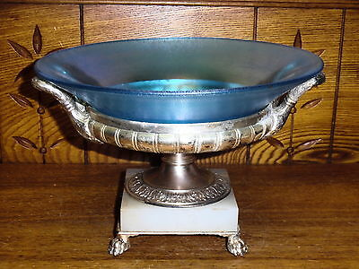 Antique Pairpoint Silverplate & Onyx Paw Foot Centerpiece w/ Stretch Glass Bowl