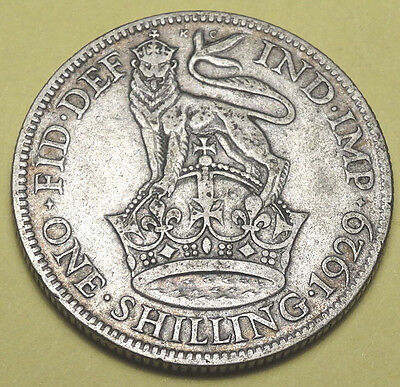 1929 One Shilling coin.  George V. Circulated condition.