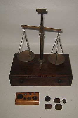 Antique Gold or Jeweler's Scale Wood Base & Brass with Weights #BC52