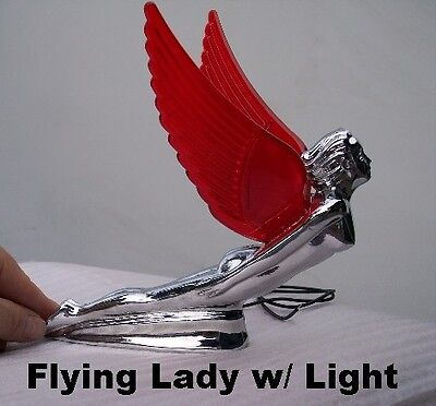 NEW RED Winged Chrome Metal Flying Lady HOOD ORNAMENT with FREE light
