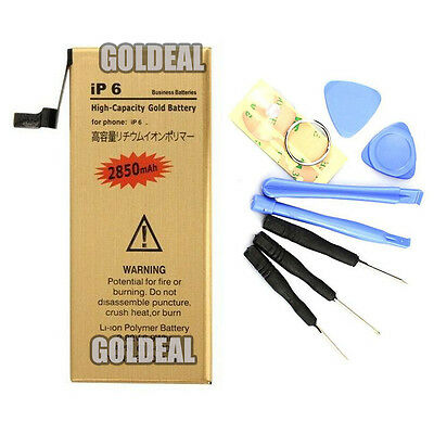 NEW High Capacity 2850mAh Replacement Gold Battery for Apple iPhone 6 with Tools
