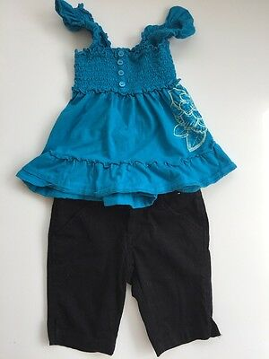 Girls Size 5 T Outfit Black Shorts And Blue Stretch Top
