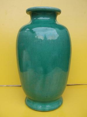259/ Beautiful Antique Awaji Japanese Green Glazed Porcelain Vase 24Cm In Height