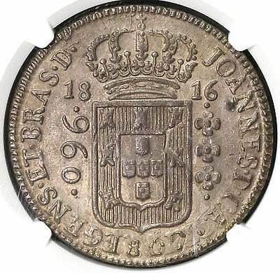 1816-B NGC AU 58 BRAZIL 960 Reis Overstruck Mexico 8R 1807 Coin (16112412C)