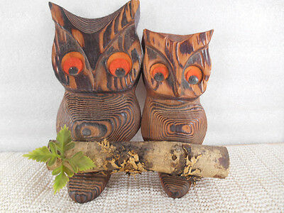 Vtg Mid Century CARVED CRYPTOMERIA WOOD 2 OWLS on BRANCH Wall Art Hanging MCM