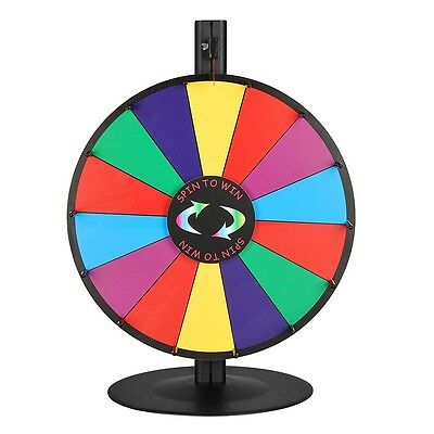 """WinSpin™ 18"""" Tabletop Color Prize Wheel of Fortune 14 Slot Steel Base Spin Game"""