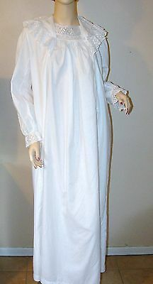 Spectacular Early VTG~Antique Edwardian Long Sleeve White Cotton Nightgown~Lace