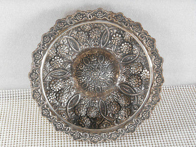 Vtg STERLING SILVER REPOUSSE TURKISH FLORAL HAMAN BOWL 596 Grams Signed RTY 900