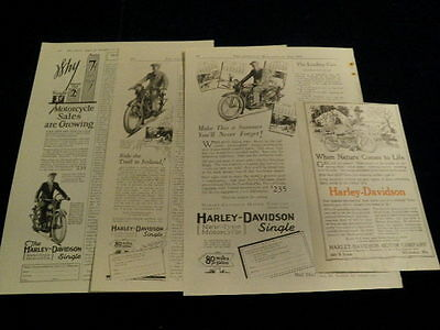 1920's Harley-Davidson Motorcycle Vtg Print Ad 4pc Original Ad Lot Q126