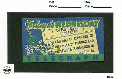 Vintage Poster Stamp Label WESTERN UNION Telegraph TODAY IS WEDNESDAY #im