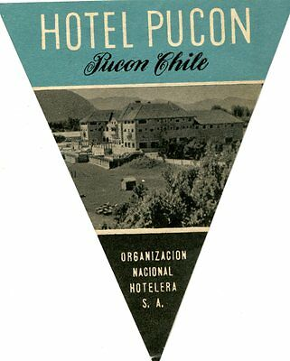 Vintage Hotel Luggage Tag HOTEL PUCON Chile photo image of hotel