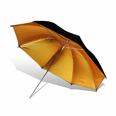 "Lusana Studio Flash Light Black/Gold Umbrella Reflector Soft Box 52"" Photography"