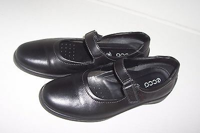 57e051d4fe Ecco Womens Black Leather Mary Jane Slip On Flat Shoes w Hoop & Loop Closure