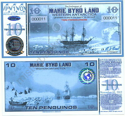 10.11.12-Dated Marie Byrd Land Ten Penguino Paper Fantasy Banknote Reg. Issue!