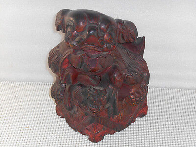 Antique Hand Carved CHINESE Wooden FOO DOG STATUE Gilt Lacquer 6 x 5 x 9""