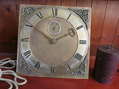 18th CENTURY BRASS SQUARE THIRTY HOUR LONG CASE CLOCK MOVEMENT WITH WEIGHT