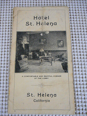 1920s HOTEL St HELENA California BROCHURE w Dining Room & Lobby Pictures