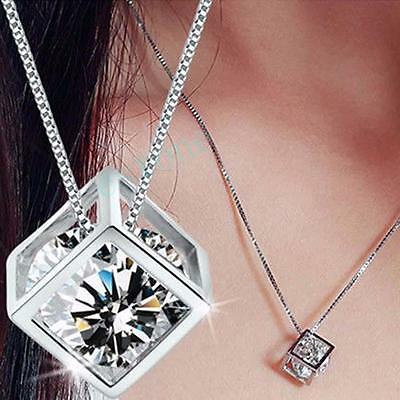 Fashion Women's 925 Sterling Silver Chain Crystal Rhinestone Pendant Necklace RE