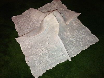 Antique Vtg HANDMADE  APPENZELL LACE  Heavily Embroidered Handkerchief Hanky-#2