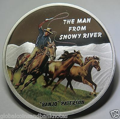 "Tuvalu - 2010 The Man From Snowy River.. ""Banjo Patterson"" 1oz Silver Proof Coin"