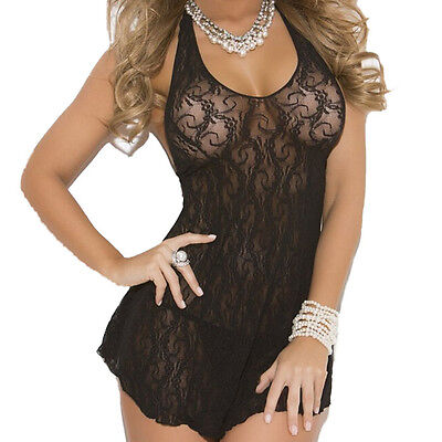 Women Lace Crochet Lingerie Backless Halter Mini Dress Underwear Black US