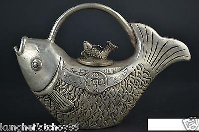 Culture Style Old tibet silver Fish Theme Statue Decor Teapot