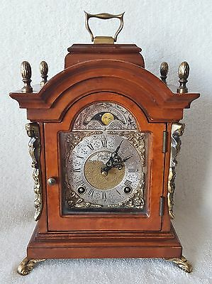 Warmink Bracket Clock Vintage Dutch Nut Wood 8 Day 25cms Rolling Moonphase 70s