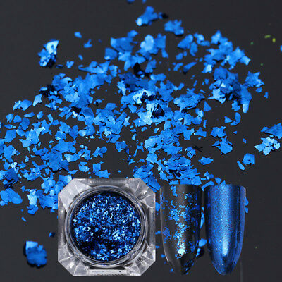 BORN PRETTY Nail Sequins Glitter Paillette Powder Dust Flakes Blue Irregular DIY