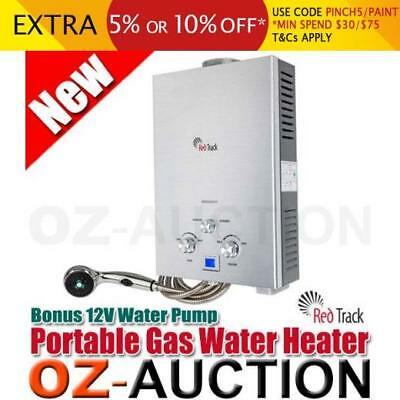 Red Track Portable Gas Powered Water Heater Shower with Bonus 12V Water Pump