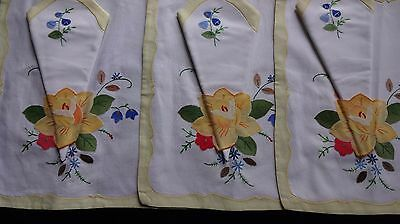 3 Vintage Applique, Embroidered  Table Mats & Napkins